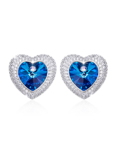 Swarovski Crystals Heart-shaped stud Earring
