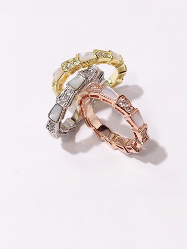 Copper With Shell  Simplistic Geometric Band Rings