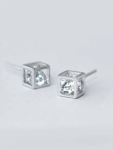 S925 Silver White Gold Plated Square Diamond stud Earring