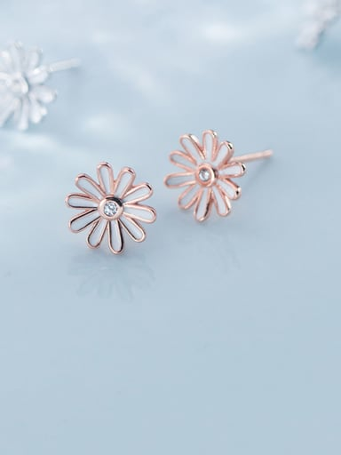 925 Sterling Silver With Rose Gold Plated Cute Flower Stud Earrings