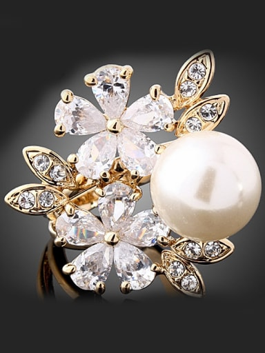 Fashion Zircon-studded Flowers Artificial Pearl Copper Ring
