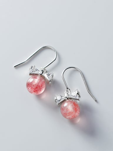 925 Sterling Silver With Strawberry  Crystal  Simplistic Bowknot Hook Earrings