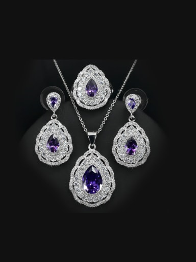 Luxury Color Zircon Three Pieces Jewelry Set