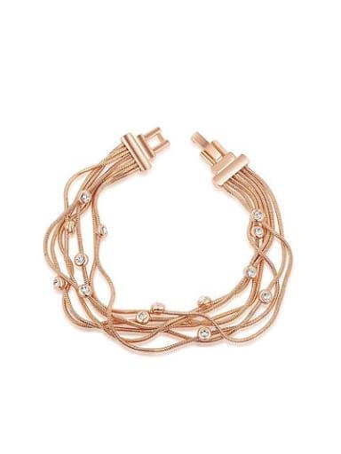 Elegant Multi-layer Rose Gold Plated Alloy Bracelet