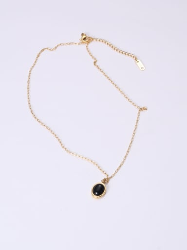 Titanium With Gold Plated Simplistic Oval Necklaces