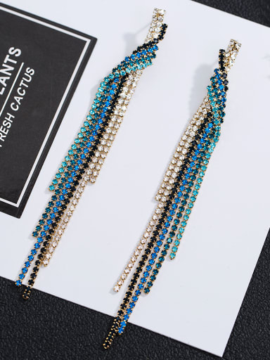Copper inlaid AAA zircons retro claws chain Pierced Earrings
