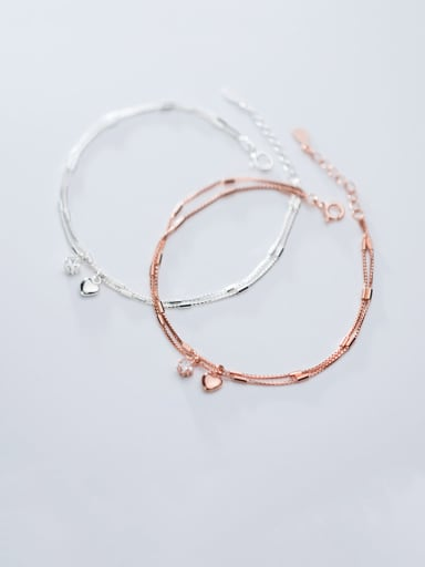 925 Sterling Silver With Rose Gold Plated Simplistic Heart Double Layer Bracelets