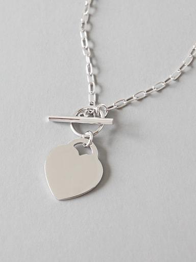 Pure silver Simple Love Pendant Necklace