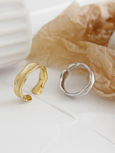 925 Sterling Silver With Artificial zircon Simplistic Wavy  Zircon Free Size Rings