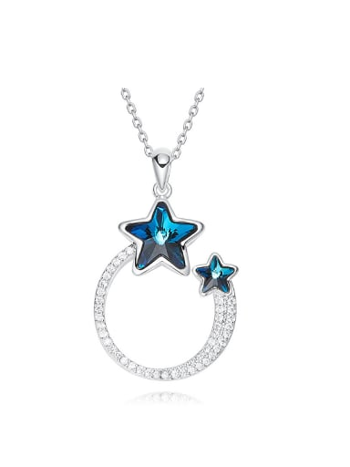 Fashion Hollow Round Star Swarovski Crystals Pendant Copper Necklace