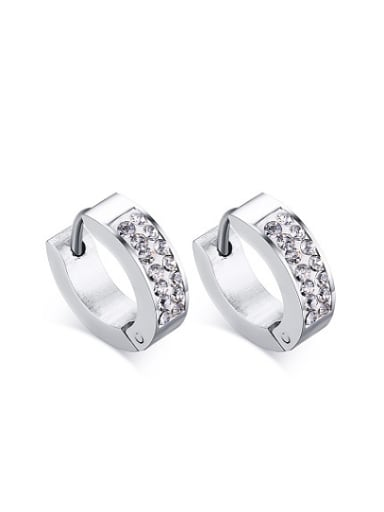All-match Geometric Shaped Rhinestones Stainless Steel Clip Earrings