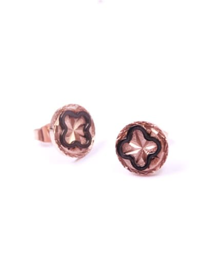 Flower-shape Rose Gold Plated Stud Earrings