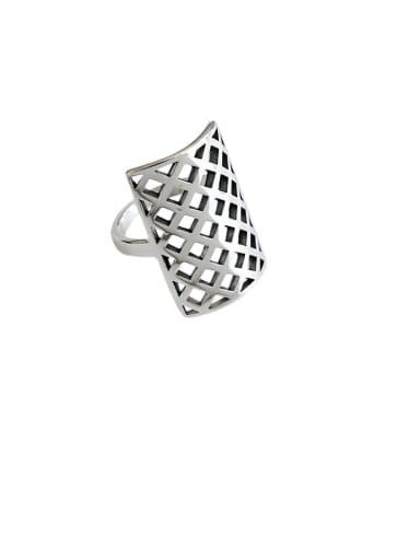 925 Sterling Silver With Antique Silver Plated  Geometric Free Size Rings