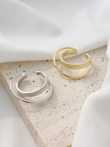 925 Sterling Silver Simple and wrong double-loop two-layer free size  Rings
