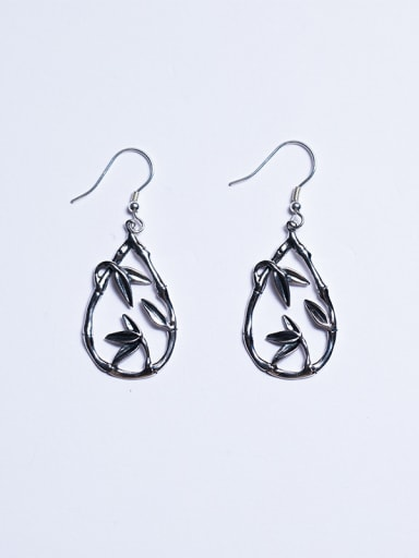 Retro style 925 Silver Tiny Leaves Water Drop Earrings
