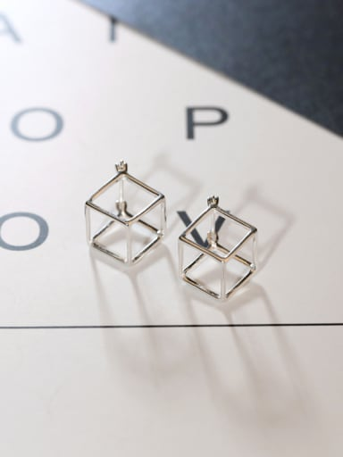 Personalized Solid Square Silver Earrings