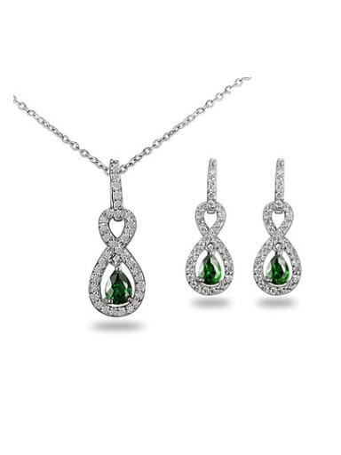 Exquisite Green Number Eight Shaped Zircon Two Pieces Jewelry Set