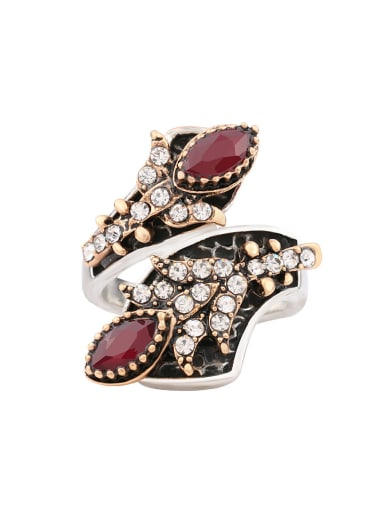 Exquisite Ruby Resin stone White Crystals Alloy Ring