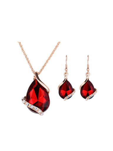 Alloy Imitation-gold Plated Fashion Artificial Gemstone Two Pieces Jewelry Set