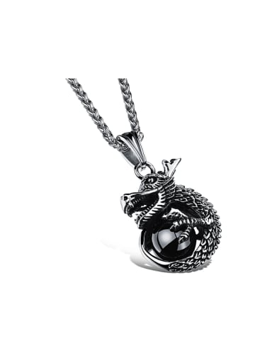 Personalized Dragon Black Stone Titanium Men Necklace