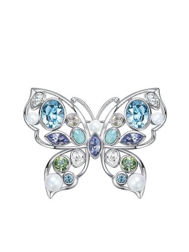 Butterfly-shaped Pearl Brooch