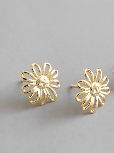 Sterling Silver short hollow sunflower stud earing