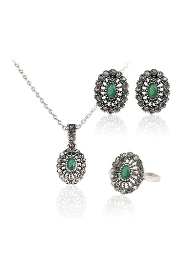 Retro style Green Resin stones Grey Rhinestones Three Pieces Jewelry Set