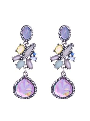 Flower Purple Stones Drop Chandelier earring