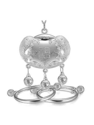 Ethnic style Chinese Characters-etched 999 Silver Children Two Pieces Jewelry Set