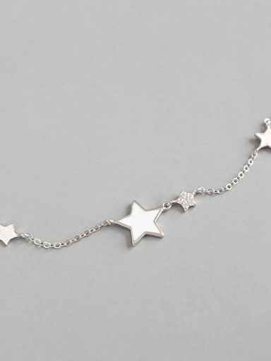 925 Sterling Silver With Silver Plated Simplistic Star Anklets