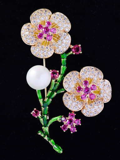 Copper With Cubic Zirconia Romantic Flower Brooches