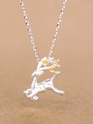 Personalized Running Deer Silver Necklace