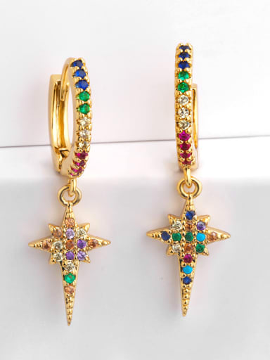 Copper With Cubic Zirconia Fashion Cross Cluster Earrings