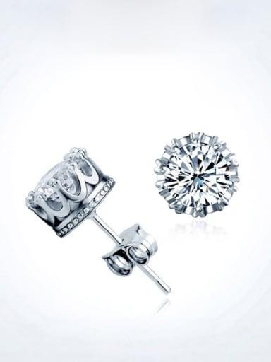 S925 Silver Lovers' Crown with Single zircon stud Earring