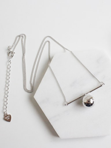 Simple Smooth Bead Pendant Silver Women Necklace