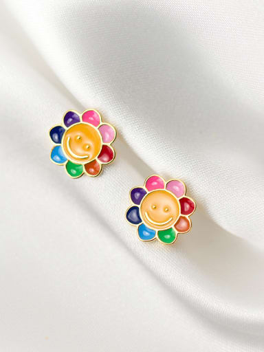 925 Sterling Silver With Gold Plated Cute Face Stud Earrings