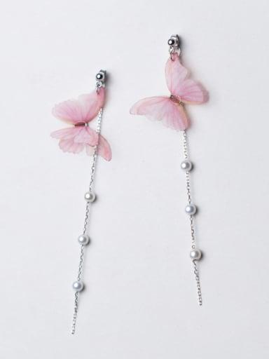 Temperament Pink Butterfly Shaped Artificial Pearl Drop Earrings