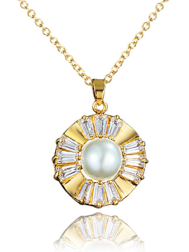 Women 18K Gold Plated Artificial Pearl Round Necklace