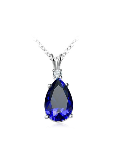 Charming Blue Water Drop Shaped Glass Necklace