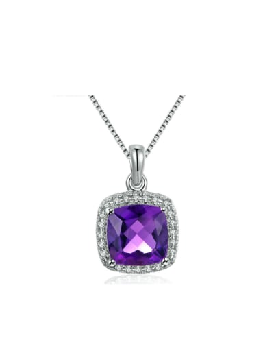Square-shape Amethyst White Gold Plated Pendant