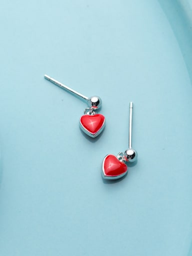 925 Sterling Silver With Platinum Plated Classic Heart Stud Earrings