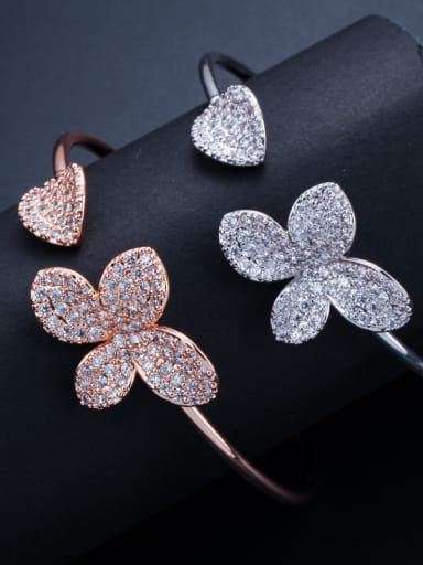 Copper inlay zircon fashion simple flower open bracelet