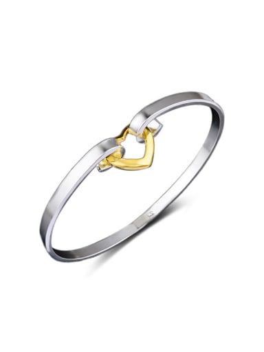 Fashion Gold Plated Hollow Heart Copper Bangle