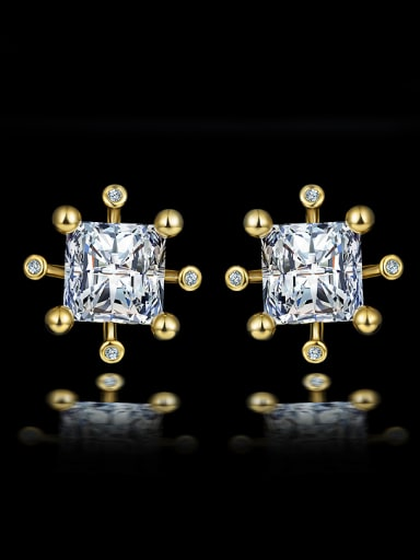 Simple Square Zircon Gold Plated Stud Earrings