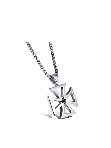 Simple Hollow Cross Titanium Men Necklace