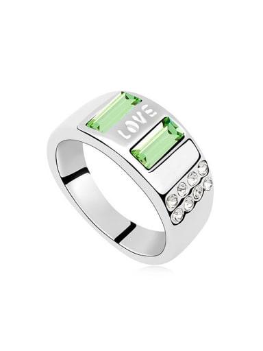 Simple Rectangular Swarovski Crystals Love Alloy Ring