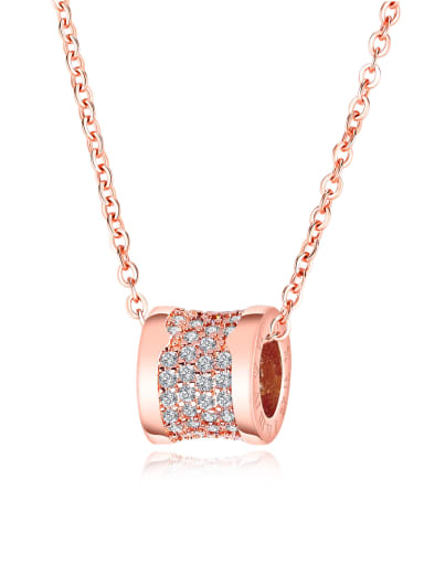 Stainless Steel With Rose Gold Plated Personality Round Necklaces