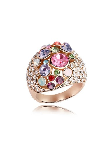 Exaggerated Cubic Swarovski Crystals Alloy Ring