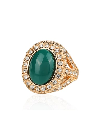 Gold Plated Green Resin stone White Crystals Alloy Ring