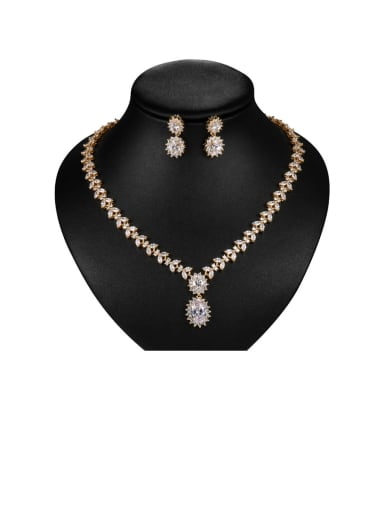 Copper With Cubic Zirconia Luxury Flower  Earrings And Necklaces 2 Piece Jewelry Set